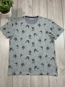 TED BAKER 'LAZOO' Mens Slim All Over Parrot Print T-Shirt Top   Size 5   42 in.