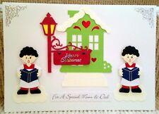 Luxury Handmade Personalised Large A4 CHRISTMAS CARD Carol Singers Mum & Dad