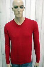 TOMMY HILFIGER Taglia S Maglione Uomo Rosso Casual Cotone Pull Pullover Sweater