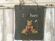 "Country ~ I Love Bears~ ""RARE"" Resin on Slate Wall Hanging Decor NWOT!"