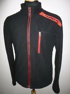Mens Planet X Cycling Soft Shell Fleece Jacket Windproof Black & Red Size Medium