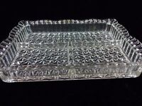VINTAGE CRYSTAL SQUARE PARTITIONED DISH CUT GLASS