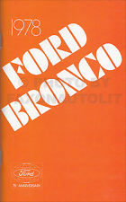 1978 Ford Bronco Owners Manual 78 Bronco Owner User Instruction Guide Book