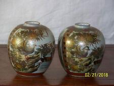 Pair-Satsuma Meiji Period Hand Painted Signed Japanese Vases