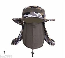 Hiking fishing Sun cover 360 flap UV military boonie hat removable mask camo cap