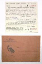 1952 Grand Rapids Minnesota Non Resident Individual Fishing License W/ Envelope
