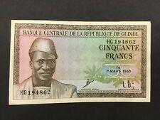 GUINEE/ GUINEA  50 Francs  1960  --  CRISP!!   XF/AU