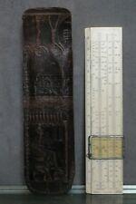 Règle à calcul Marc avec étui en cuir décor Egypte antique