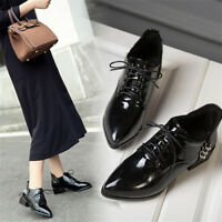 Women's Lace Up Oxfords Pointed Toe Patent Leather Chunky Low Heel Casual Shoes