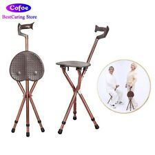 Folding Aluminium Walking Stick with Seat Attached Portable Walking Cane Chair L