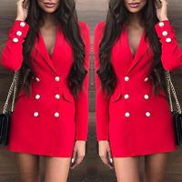 Women Ladies Duster Lapel Double Breasted Blazer Dress Suit OL Work Jacket Coat