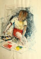 M.GUARACHI(20.Jh), Sitzendes Kind mit Wasserfarbkasten und Papier, Aquarell