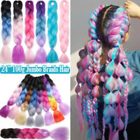 "New Braid Twist Hair Expression 24"" Kanekalon For Cosplay Ombre Pink Blue Purple"