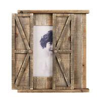 ParisLoft Wood Barn Door Picture Frame, Distressed Hanging Wooden Photo Frame