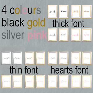 Sweet dreams quote, black,gold,silver,pink poster,bedroom,wall art decor,gift,