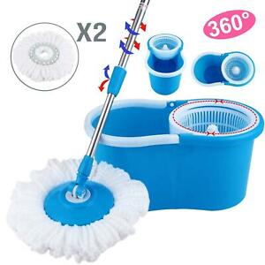 Easy Magic Floor Mop 360°Bucket with 2 Spinning Heads Microfiber Rotating Head