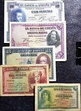 1928/35 Espana Spain 5,10,25,50 &100 Pesetas Banknote F (+FREE 1 B/note) #D3709