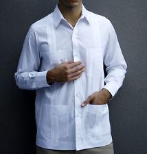 Men's White Mojito Classic Single-Button Cuff Guayabera Shirt Sz Large NWT