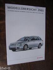 Toyota Modellübersicht 2003 Schweiz (PKW, 4x4, Nutzfahrzeuge), Prospekt/Brochure