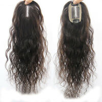 Handmade Mono Real Human Hair Topper Hairpiece Toupee Top Replacement Lady Wigs