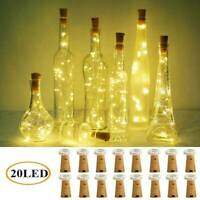 Wine Bottle Fairy String Lights 20 LED Battery Cork For Party Christmas Weddings
