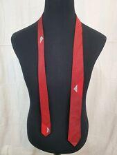 """Vintage 1960s Mod Van Heusen All Silk Neck Tie Red Abstract 2.5"""" Wide"""