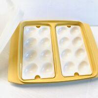 Tupperware Harvest Gold Deviled Egg Keeper Carrier Trays & Lid #723-1 vintage