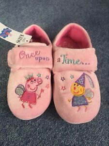 M&S Marks & Spencer Girls Pink Fairy Peppa Pig Slippers Size 12 NEW