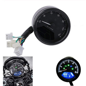 LCD Digital Speedometer Black Waterproof Fit For 4 Stroke 2/4Cylinder Motorcycle