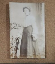 Edwardian Lady Marie Sepia Postcard vintage fashions unposted with message xc1