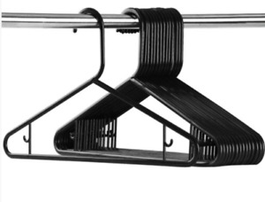 Black Adult Plastic Hangers Clothes Coat hanger Trouser Bar Strong Plastic