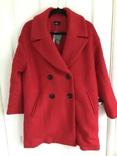 Brand New Dotti Wool Blend Double Breast Red Coat