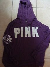 "VICTORIAS SECRET PINK ""PINK"" LIGHT WEIGHT SILKYLIKE STRETCHY HOODIE NWT"