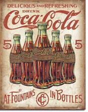 Coca Cola Flaschen Schild Vintage Design USA Metall Werbung Plakat