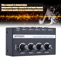 4CH Live Studio mono Audio Mixer Sound Mixing DJ USB Console Low Noise US K2U1
