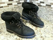 *CUTE* SOREL WINTER SHEARLING SHEEP BOOTS WOMEN SIZE 9.5 M BLACK LEATHER EUC VTG