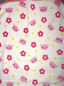 Baby Girl PIG Pink Flower Yellow Polka Dot Fleece HTF Blanket Lovey 30x40 SOFT
