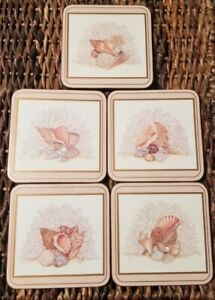 Pimpernel Coasters (Maria Ryan) Pink Sea Shell Beach Set 5 in Box Deluxe Finish
