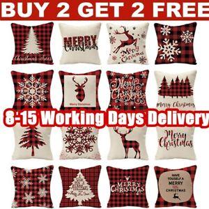 "18"" Christmas Xmas Linen Cushion Cover Pillow Case Home Decor Reindeer Snow Tree"