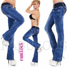 New Womens Stretch Jeans Size 10 12 14  2 4 6 8 XS S M L XL Low Rise Bootleg Cut