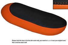 Negro Y Naranja personalizado se adapta a Triumph T120 Bonneville Doble Cuero Funda De Asiento