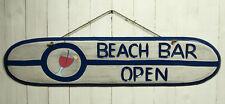 """Großer Deko Wandhänger Holzschild """"Beach Bar open"""" ca. 101 x 23cm Reliefschrift"""
