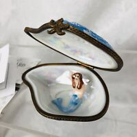 Limoges Trinket Box Peint Main France Blue Oyster Shell w Mermaid LE of 500