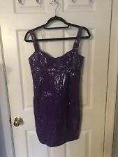 Short Sexy Purple Adjustable Stretchy Latex Cocktail Bodycon Zip Up Dress Size L