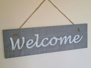 'Welcome' - Hand crafted wooden sign