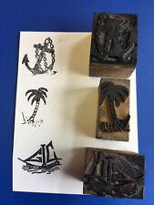 Vtg Boating Island Anchor Letter Standing Press Wooden Printing Block
