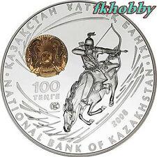Kazakhstan 2008 silver 100 Tenge Chingiz Khan Horse Pferde Rare !!!