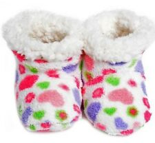 Skidders Happy Hearts Size 6-12M Plush Baby Booties Slippers White Purple Pink