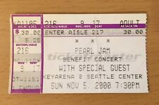 2000 PEARL JAM RHCP SEATTLE CONCERT TICKET STUB EDDIE VEDDER TEN EVEN FLOW 11/5