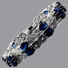 Tennis Bracelet 18K White Gold Plated Oval Cubic Zirconia Blue Sapphire